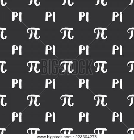 Pi Symbol Seamless Pattern Vector Illustration. Hand Drawn Sketched Grunge Mathematical Signs And Fo