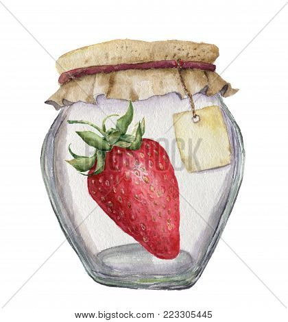 Watercolor glass jar for jam with label and strawberry. Illustration isolated on white background. For design, textile and background.