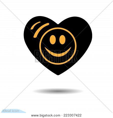 The heart icon. A symbol of love. Valentine s Day. Smile in the circle. Eyes. Flat style for graphic design, logo. Black as coal. Frame. A lot of soot. Shadow. Have a happy day. Goodwill
