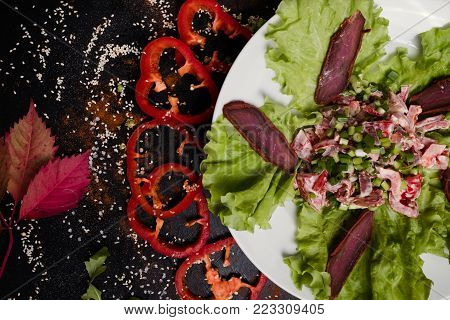 nourishing delicious meat salad. healthy nutrition. perfect breakfast for gluttons. meal background.