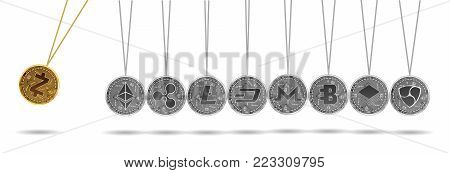 Newton cradle made of gold zcash and silver crypto currencies isolated on white background. Stratis acceleration of other crypto currencies. Vector illustration. Use for logos, print products