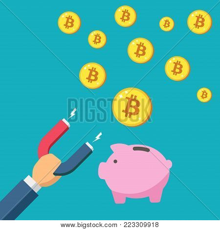 Magnet attract bitcoin. Piggy bank saved Cryptocurrency, Golden coins. Attracting investments concept. Design web site, banner, mobile app. Crypto currency, Color Minimalist flat vector illustration.