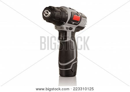 compact battery drill screwdriver on white background