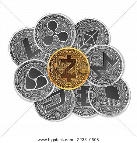 Set of gold and silver crypto currencies with golden zcash coin in front of other crypto currencies as leader isolated on white background. Vector illustration. Use for logos, print products