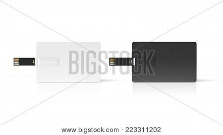 Blank black and white plastic wafer usb card mock up, 3d rendering. Visiting flash drive namecard mock up. Call-card disk souvenir presentation. Flat credit stick adapter. Bussiness favor