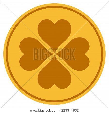 Lucky Cloever gold coin icon. Vector style is a golden yellow flat coin symbol.