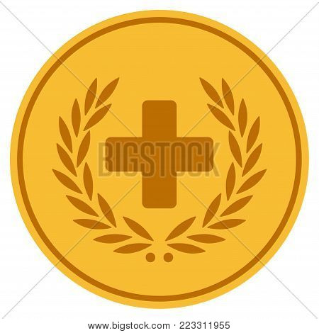 Medical Glory gold coin icon. Vector style is a golden yellow flat coin symbol.