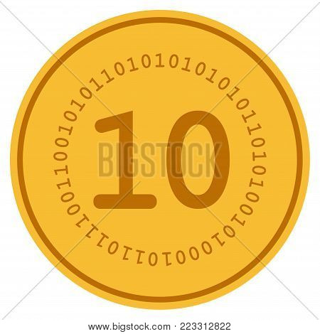 Ten Digital gold coin icon. Vector style is a golden yellow flat coin symbol.