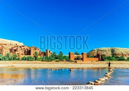 View on Oaisis Ait Ben Haddou in Morocco