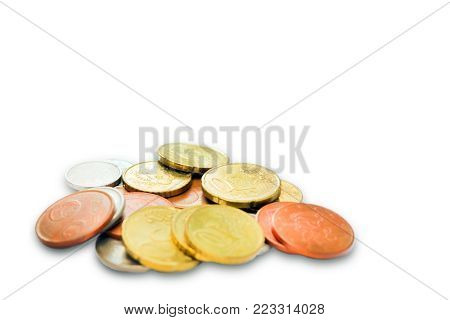 A photo of money, heap of euro coins. Euro currency. Business finance concept. Coins isolated on white
