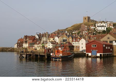 Whitby Harbour Old Side And Saint Hildas Church