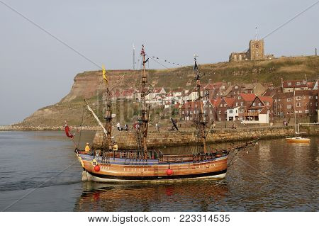 Whitby Harbour Old Side And Church With Sailing Ship