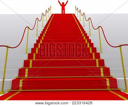 The goal is achieved. Red symbol of man on top of stairs with a red carpet and fencing posts. The concept of achieving the goal. 3D Illustration
