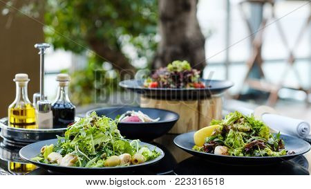 banquet at restaurant Variety of meals prepared for a reception or dinner party. Healthy eating lifestyle