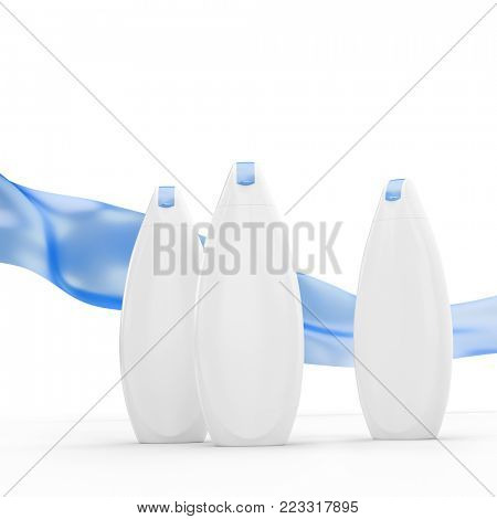 Luxury white shower gel (shampoo) bottles mockup with winded cloth on a background. 3D render
