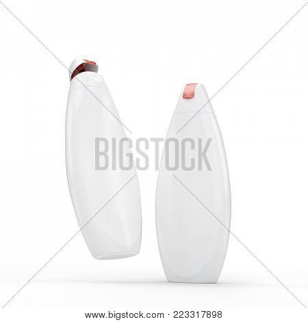 Luxury white shower gel (shampoo) bottles mockup. 3D render. Isolated on whitte