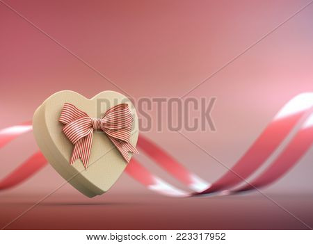 Craft heart shaped gift box with bow and red curved ribbon. 3D render