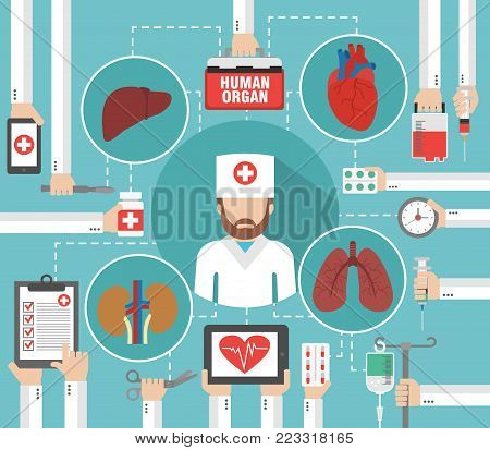 Organ transplantation flat design with doctor isolated vector illustration