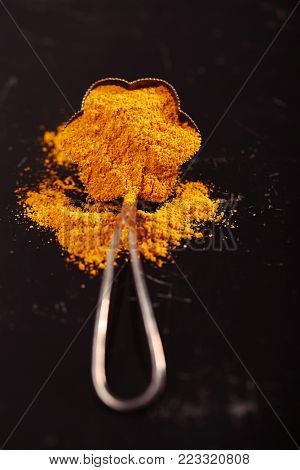 turmeric latte spice mix in solver spoon on dark