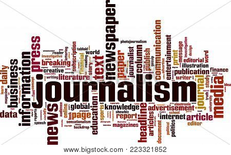 Journalism word cloud concept. Vector illustration on white