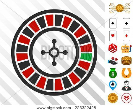 Roulette pictograph with bonus gamble pictographs. Vector illustration style is flat iconic symbols. Designed for casino ui.