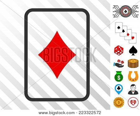 Diamonds Gambling Card pictograph with bonus gamble icons. Vector illustration style is flat iconic symbols. Designed for gamble ui.