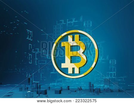 Golden letter B in the ring on the background of the program code and hologram. Business city bitcoin 3D illustration of bitcoin symbol rising from modern city on the waterfront Futuristic skyscrapers in the flow of information. 3d render. 3D illustration