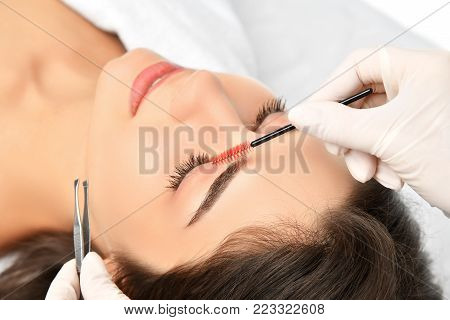 Beautician doing permanent eyebrows makeup. Closeup composition of beautiful woman face with thick brows In beauty salon. Preparation eyebrow for tattooing. Beauty procedure female face