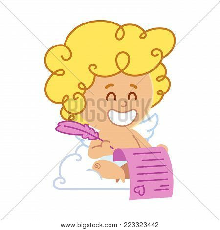 Vector illustration of Cupid, he is writing a love letter