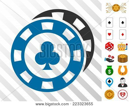 Casino Chips icon with bonus casino pictographs. Vector illustration style is flat iconic symbols. Designed for casino apps.