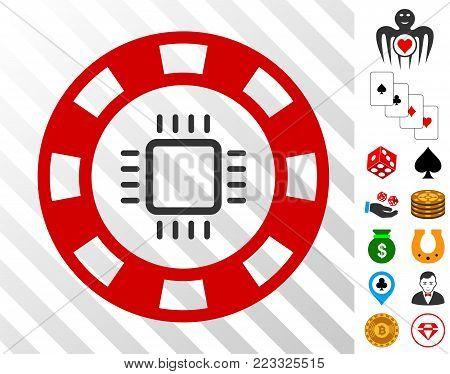 Cpu Casino Chip icon with bonus casino icons. Vector illustration style is flat iconic symbols. Designed for gamble websites.