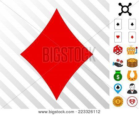 Diamonds Suit pictograph with bonus casino pictographs. Vector illustration style is flat iconic symbols. Designed for casino gui.