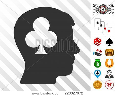 Gambling Addiction Patient icon with bonus gamble graphic icons. Vector illustration style is flat iconic symbols. Designed for gambling ui.
