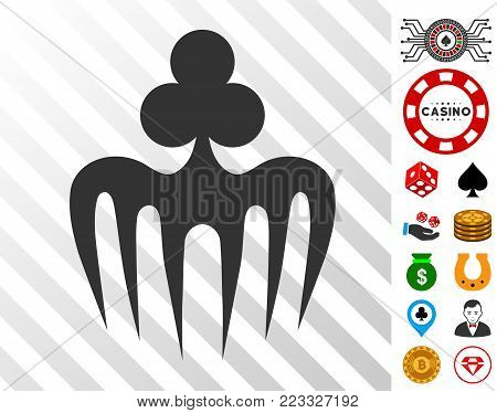 Gambling Spectre Monster pictograph with bonus gambling clip art. Vector illustration style is flat iconic symbols. Designed for gamble gui.