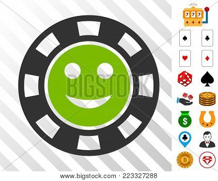 Glad Casino Chip pictograph with bonus gamble clip art. Vector illustration style is flat iconic symbols. Designed for gambling websites.