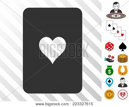 Hearts Playing Card icon with bonus gambling pictographs. Vector illustration style is flat iconic symbols. Designed for gamble gui.