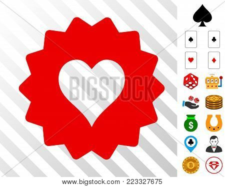 Hearts Token pictograph with bonus gamble symbols. Vector illustration style is flat iconic symbols. Designed for gambling gui.