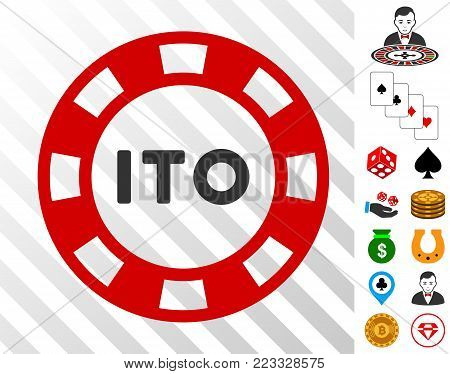 Ito Token pictograph with bonus gamble design elements. Vector illustration style is flat iconic symbols. Designed for gamble software.