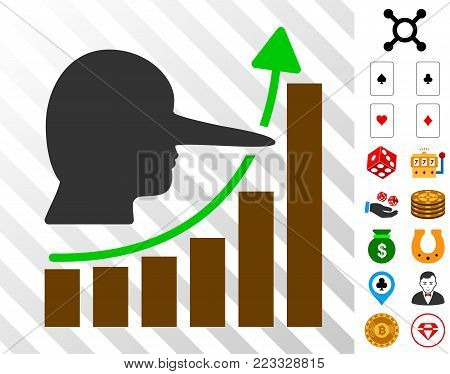Lier Hyip Chart pictograph with bonus gambling pictograms. Vector illustration style is flat iconic symbols. Designed for gambling apps.
