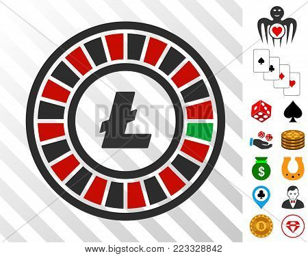 Litecoin Roulette icon with bonus gamble images. Vector illustration style is flat iconic symbols. Designed for casino apps.