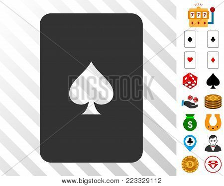 Peaks Playing Card icon with bonus gambling images. Vector illustration style is flat iconic symbols. Designed for gambling ui.