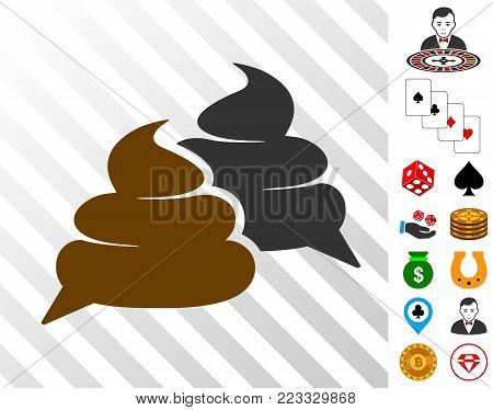 Shit Chat icon with bonus gambling graphic icons. Vector illustration style is flat iconic symbols. Designed for gambling ui.