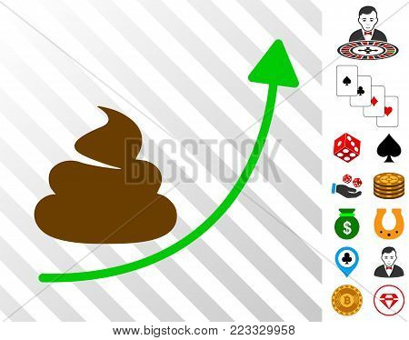 Shit Hyip Arrow Up icon with bonus gambling clip art. Vector illustration style is flat iconic symbols. Designed for gamble websites.