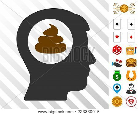 Shit Idea Head pictograph with bonus casino images. Vector illustration style is flat iconic symbols. Designed for gambling websites.