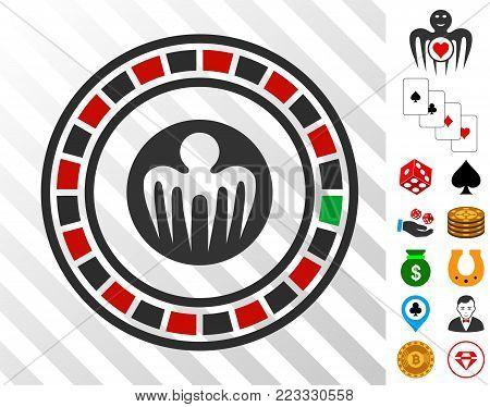 Spectre Casino pictograph with bonus gambling symbols. Vector illustration style is flat iconic symbols. Designed for gambling websites.