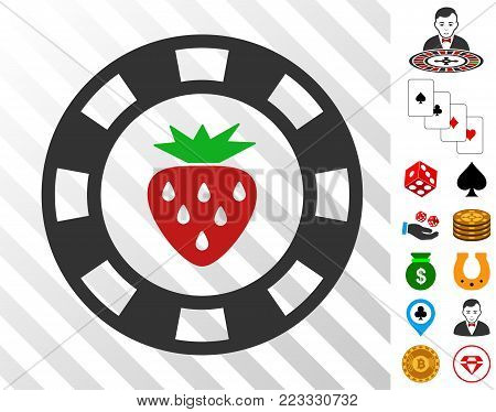 Strawberry Casino Chip icon with bonus gambling images. Vector illustration style is flat iconic symbols. Designed for gambling apps.