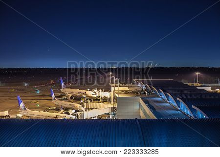 Houston, Tx - January 14, 2018 -  Aircrafts From United Airlines Docked At Terminal E At George Bush