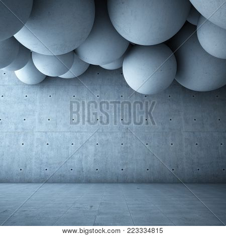 Architectural design of modern concrete hall with abstract ceiling. 3D illustration.