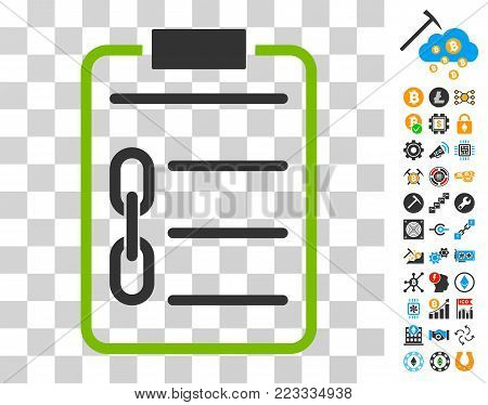Blockchain Contract pictograph with bonus bitcoin mining and blockchain pictographs. Vector illustration style is flat iconic symbols. Designed for blockchain apps. poster