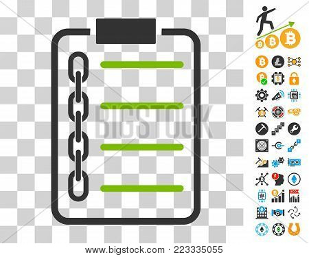 Blockchain Contract icon with bonus bitcoin mining and blockchain design elements. Vector illustration style is flat iconic symbols. Designed for crypto currency software.